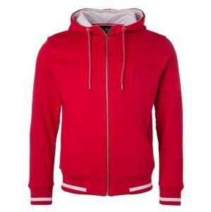 Pánská mikina na zip s kapucí Club JN776 - Červená / bílá | L