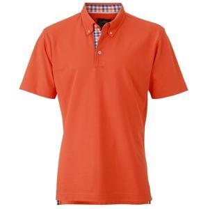 Elegantní pánská polokošile JN964 - Tmavě oranžová / modrá / oranžová / bílá | XXL