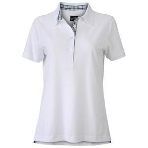 Elegantní dámská polokošile JN969 - Bílá / modrá / žlutá / bílá | S