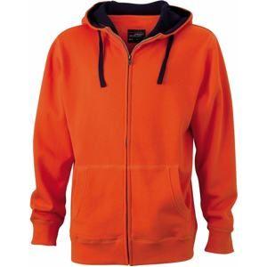 Pánská mikina na zip s kapucí JN963 - Tmavě oranžová / tmavě modrá   XL