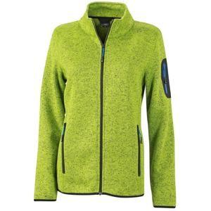 James & Nicholson Dámská bunda z pleteného fleecu JN761 - Kiwi melír / královská modrá | S