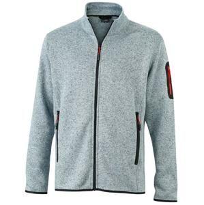 Pánská bunda z pleteného fleecu JN762 - Světle šedý melír / červená | XL