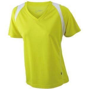 Dámské běžecké tričko s krátkým rukávem JN396 - Žlutá / bílá | S