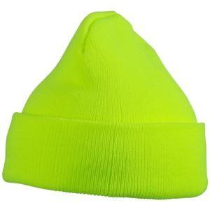 Pletená zimní dětská čepice MB7501 - Neonově žlutá | uni dětská