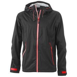 Pánská softshellová bunda s kapucí JN1098 - Černá / červená | S