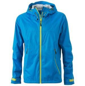 Pánská softshellová bunda s kapucí JN1098 - Aqua / žlutozelená | L