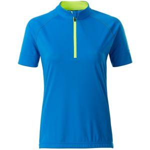 James & Nicholson Dámský cyklistický dres s krátkým zipem JN513 - Jasně modrá / jasně žlutá | XXL