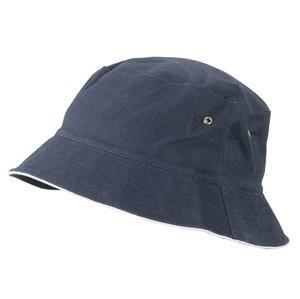 Bavlněný klobouk MB012 - Tmavě modrá / bílá | S/M