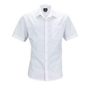 James & Nicholson Pánská košile s krátkým rukávem JN644 - Bílá | XXL