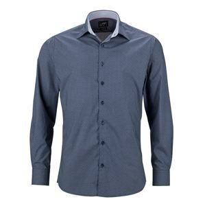 Pánská luxusní košile Diamonds JN670 - Tmavě modrá / bílá | XXL