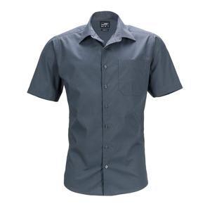 Pánská košile s krátkým rukávem JN644 - Tmavě šedá | XXL