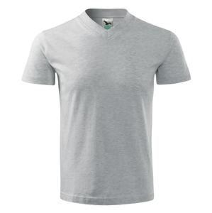 Tričko V-neck - Světle šedý melír | S