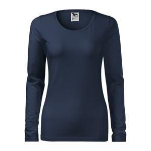 Dámské tričko s dlouhým rukávem Slim - Námořní modrá | XS