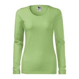 Dámské tričko s dlouhým rukávem Slim - Trávově zelená | S