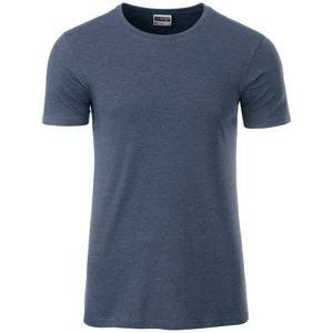 Klasické pánské tričko z biobavlny 8008 - Světle džínový melír | XXL