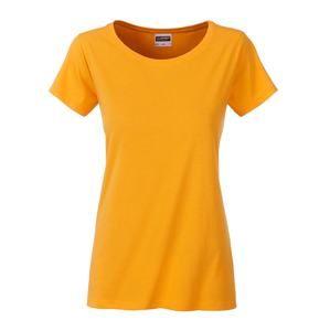 Klasické dámské tričko z biobavlny 8007 - Zlatě žlutá | XXL