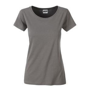 Klasické dámské tričko z biobavlny 8007 - Středně šedá | S